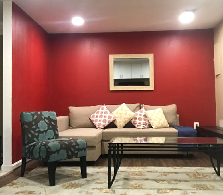 Spacious and well lit living space that converts into a comfortable sleeping place if you have guest.