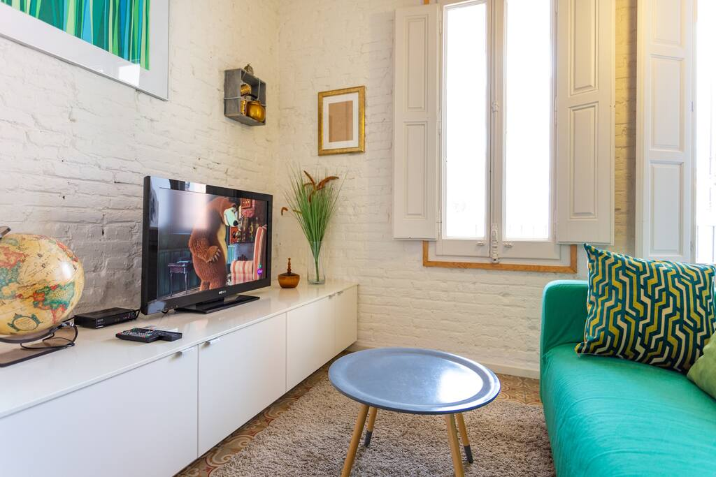 sitting corner with satellite TV