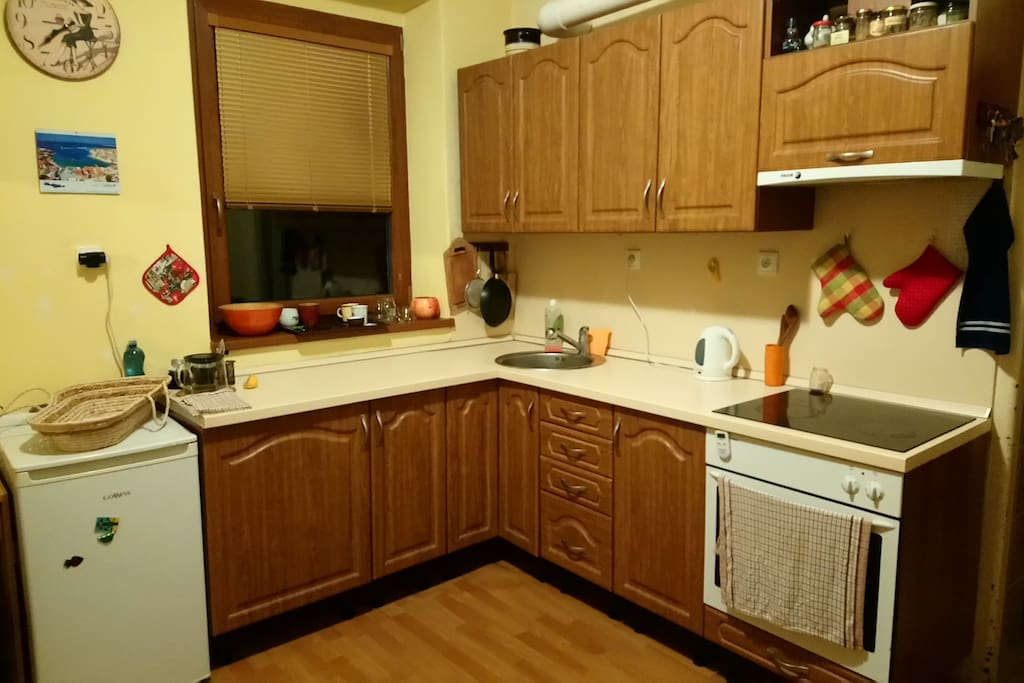 Kitchen with oven.