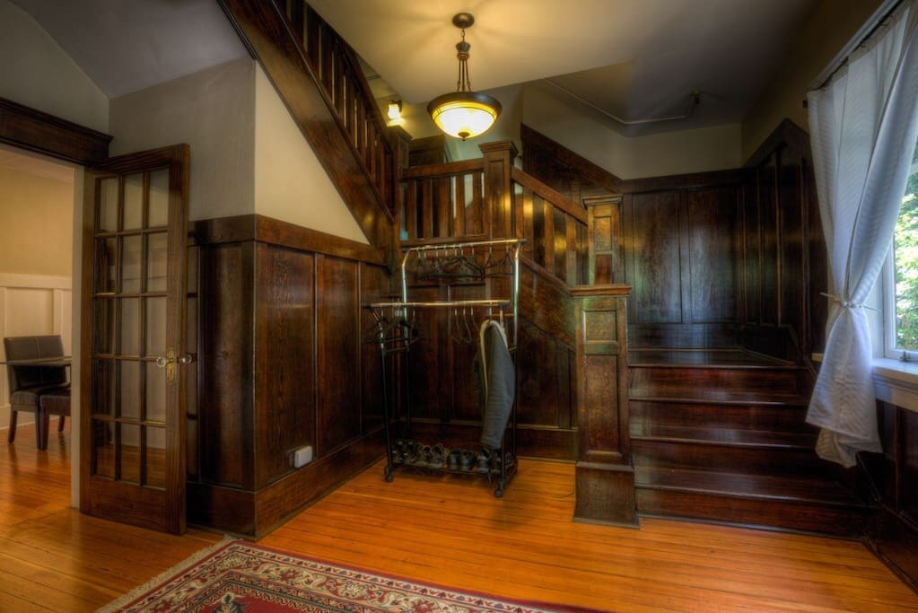 The entrance at McLay offers a glimpse of the Craftsman details throughout the house.