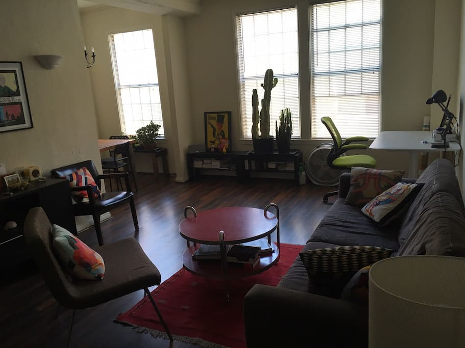 Apartment is on the backside of a multi-unit building, so off the main streets and very quiet with lots of light. Desk in corner with large screen for working or watching films.
