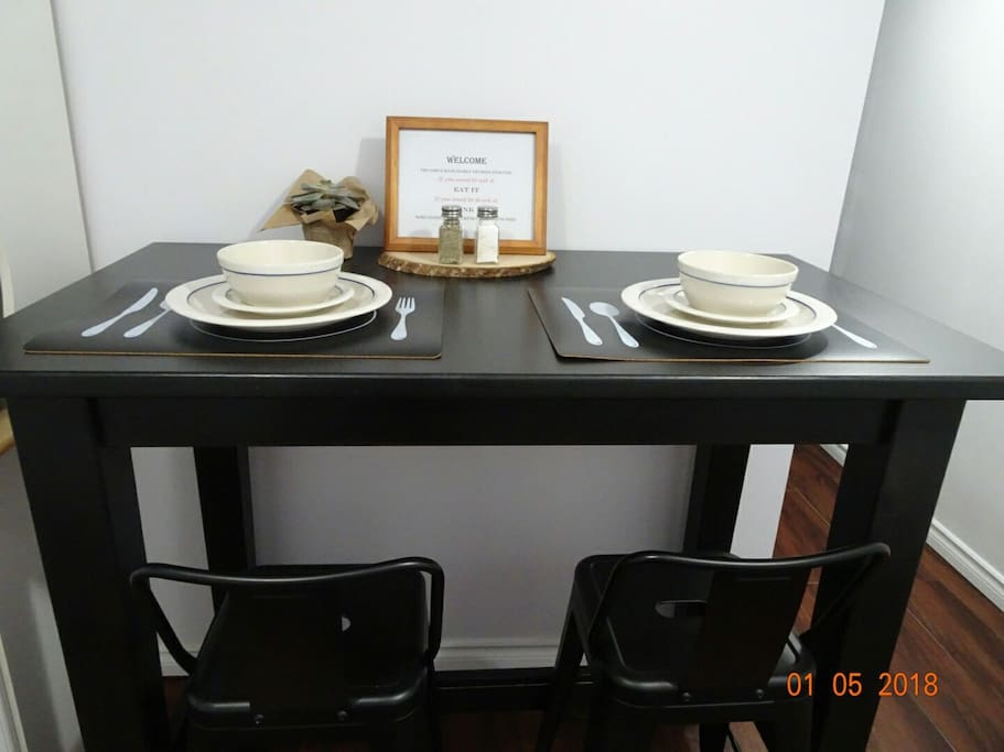 Bar table set for 2