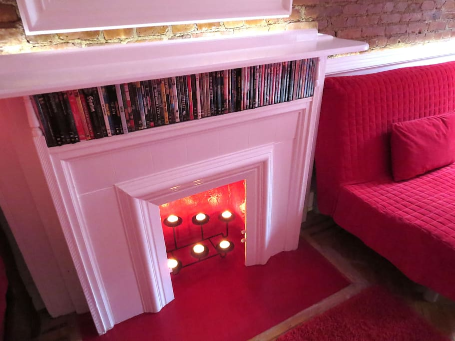 Fireplace with candle holder...