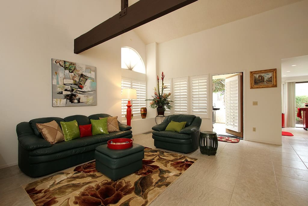 The living room with leather furniture