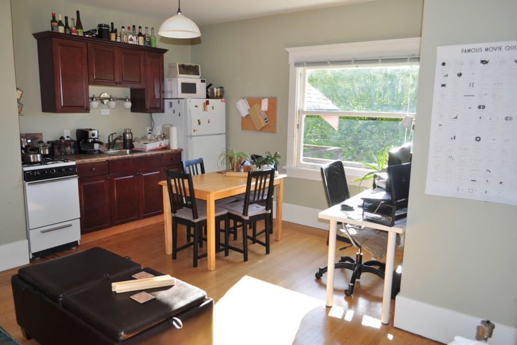 My dining room, office and living room + Kitchen- all in one
