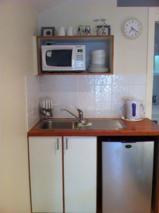 Kitchenette , small but functional.