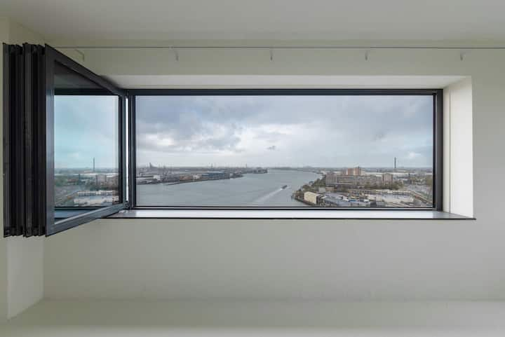 Best view over river Maas and city center