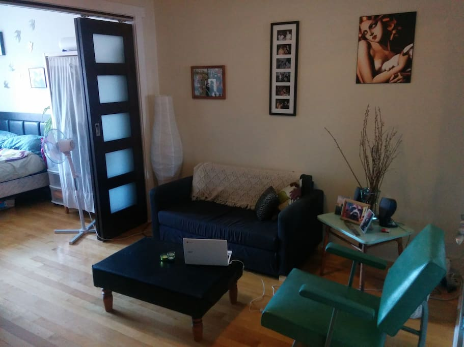 living room,  ikea solsta sofa folds out into small bed