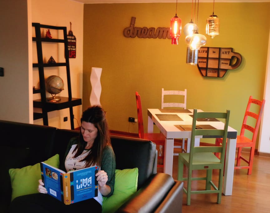 "A recent guest taking some time to read & relax in the ""Chill room""."