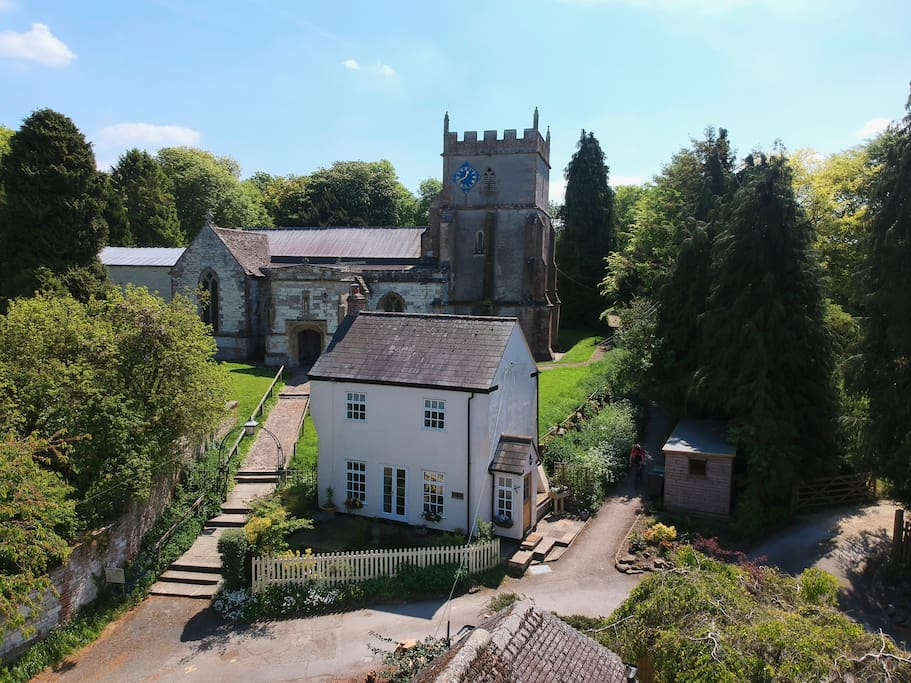 Arial view of Churchyard Cottage and Church
