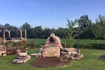 wood fire pizza oven! Just bring your dough + toppings