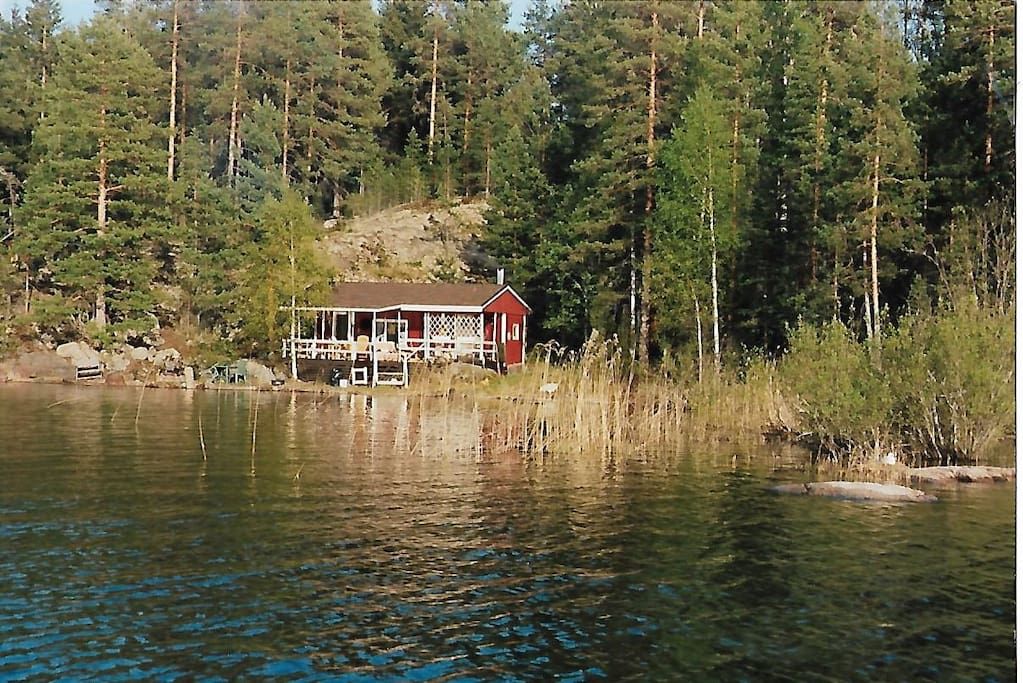 Main cabin from the lake. Sleeping place for four people.
