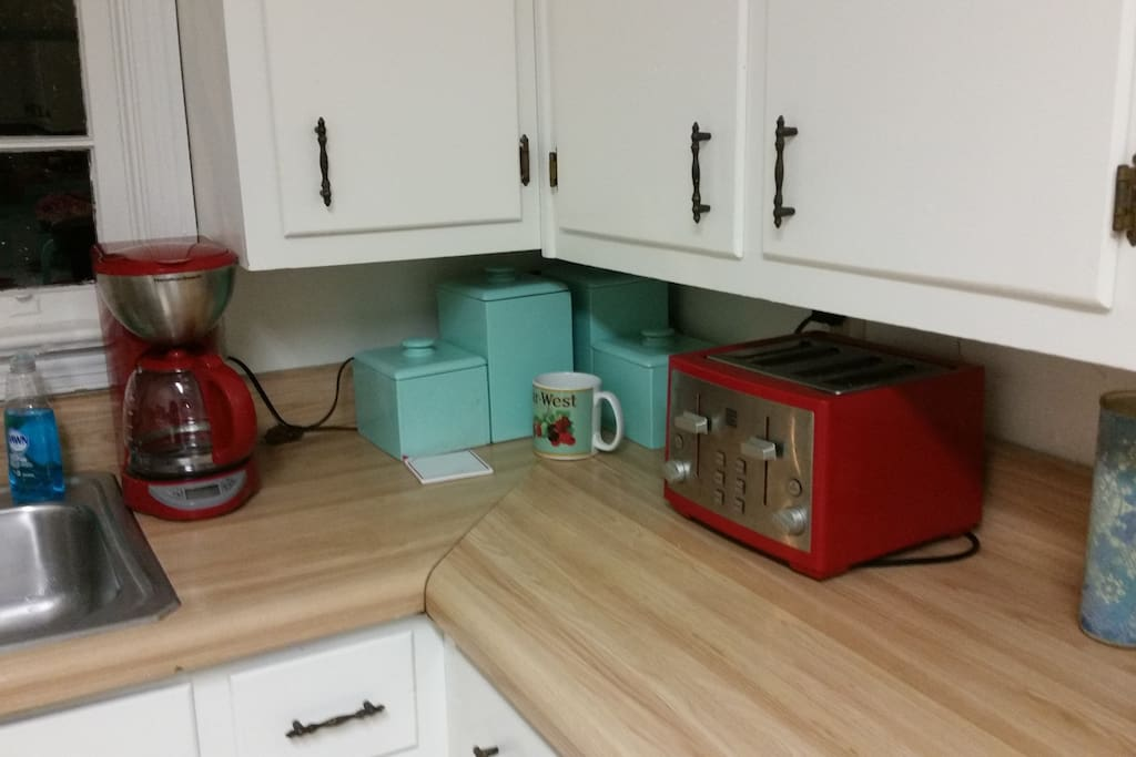 Kitchen counter, coffee maker and toaster