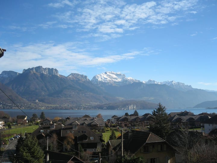 Lake Annecy panoramic view over lake and mountains