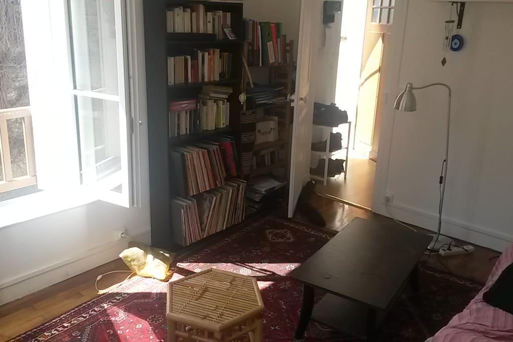 Salon cosy, bibliothèque et collection de vinyle vous attendent pour des soirée riches en culture.