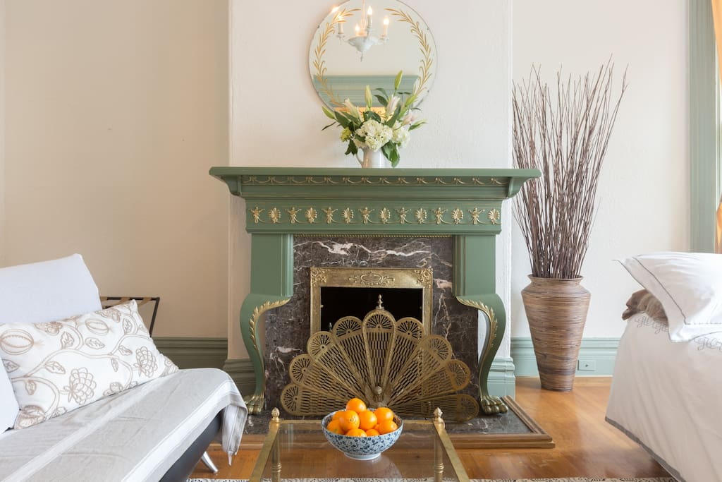 Original victorian decorative fireplace, a true San Francisco gem!