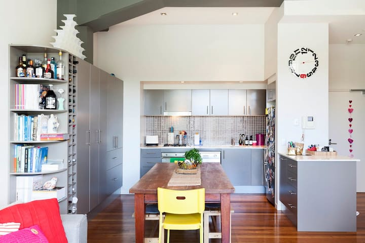 Open plan kitchen and dining