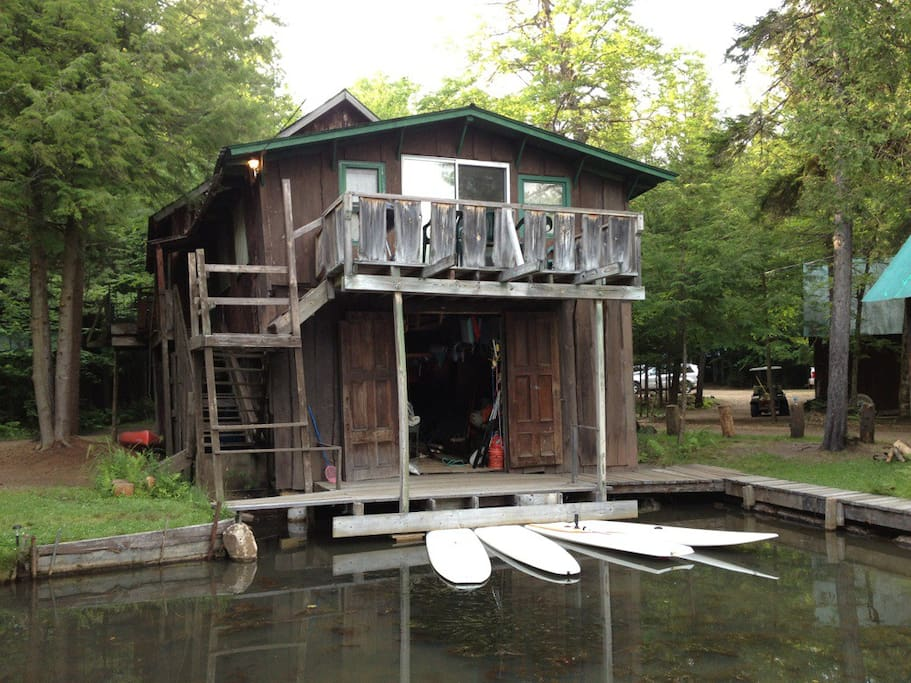 Take the stairs up above the boat house to your rustic retreat