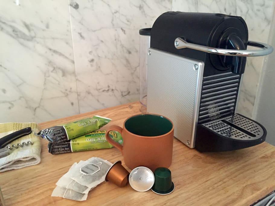 Nespresso coffee and tea.