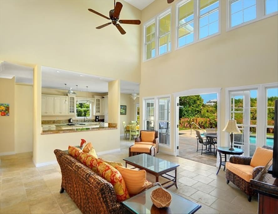 Family room leading to swimming pool