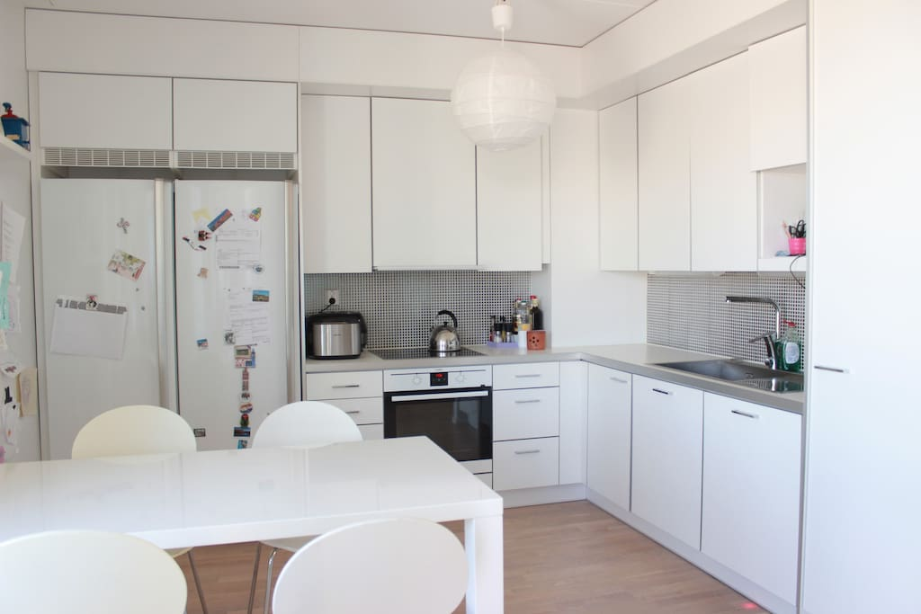 Kitchen is big enough, bright and comfortable