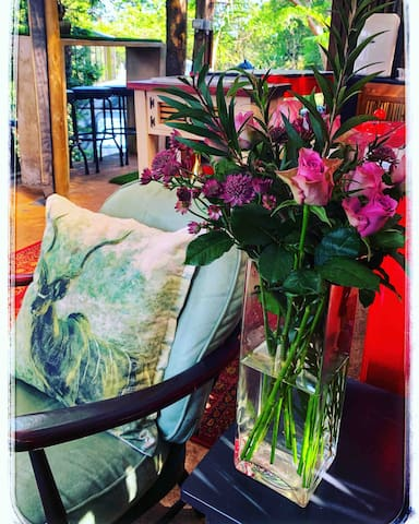 A guest requested flowers for his partner's birthday. Beautiful touches
