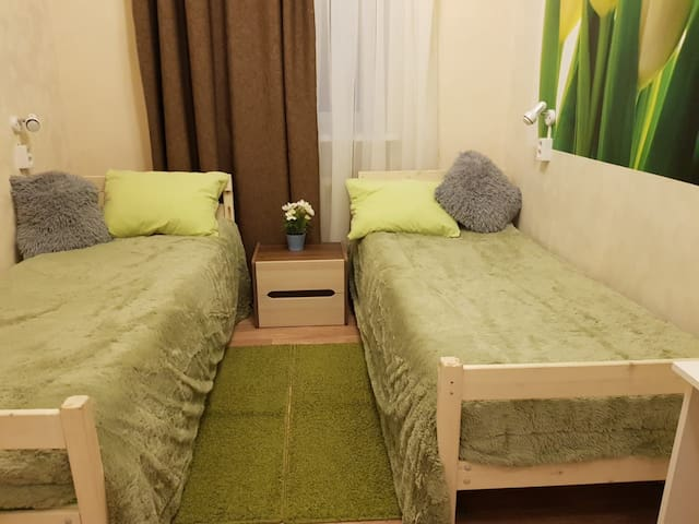Семейный номер с двумя односпальными кроватями