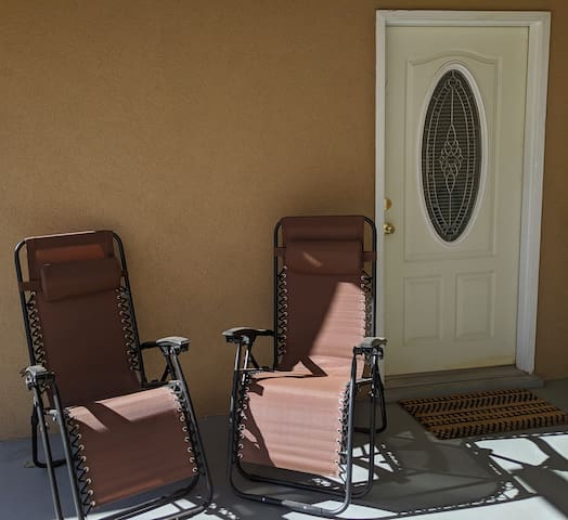 Patio right outside the private entrance (patio is shared with owner)