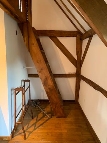 The wooden ladder leading to the mezzanine area with two single beds