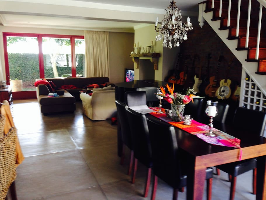 Spacious open plan lounge and dining room.