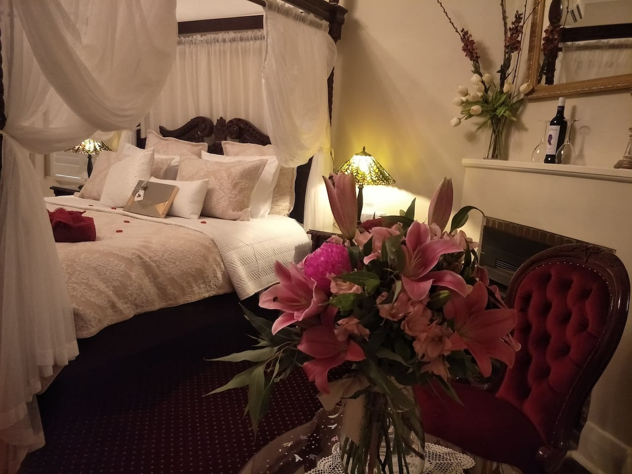 The perfect room for a special occasion, wedding, anniversary, birthday. We can provide the extras to celebrate a special occasion. A delightful king sized bed with mahogany furniture.