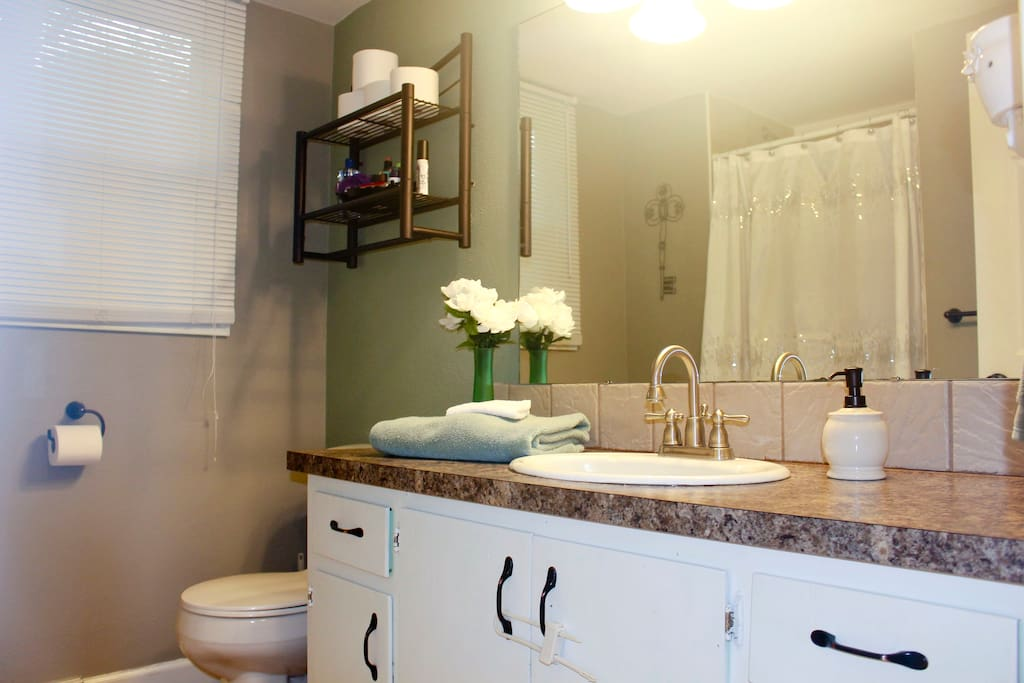 Our guest bathroom is right next to the guest bedroom. We offer many toiletries in case you forgot something!