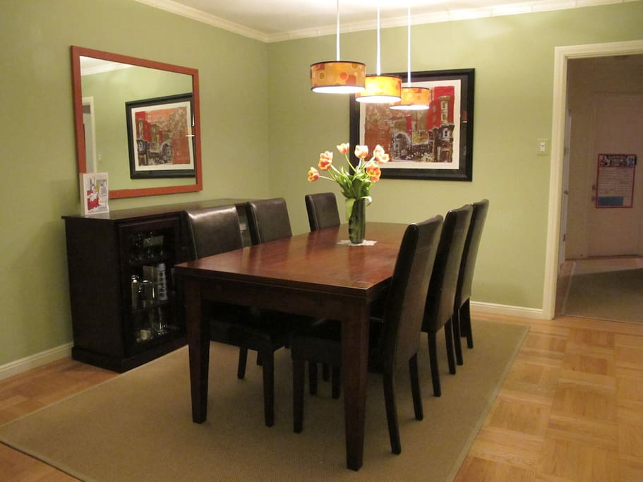 Dining table extends on both sides.