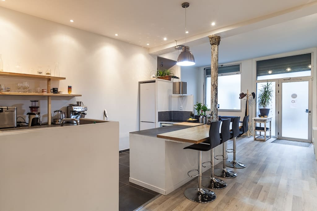 A large and fully equipped kitchen