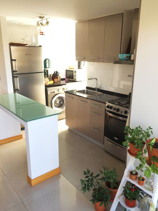 Full kitchen with refrigerator, oven, microwave oven and washing machine.