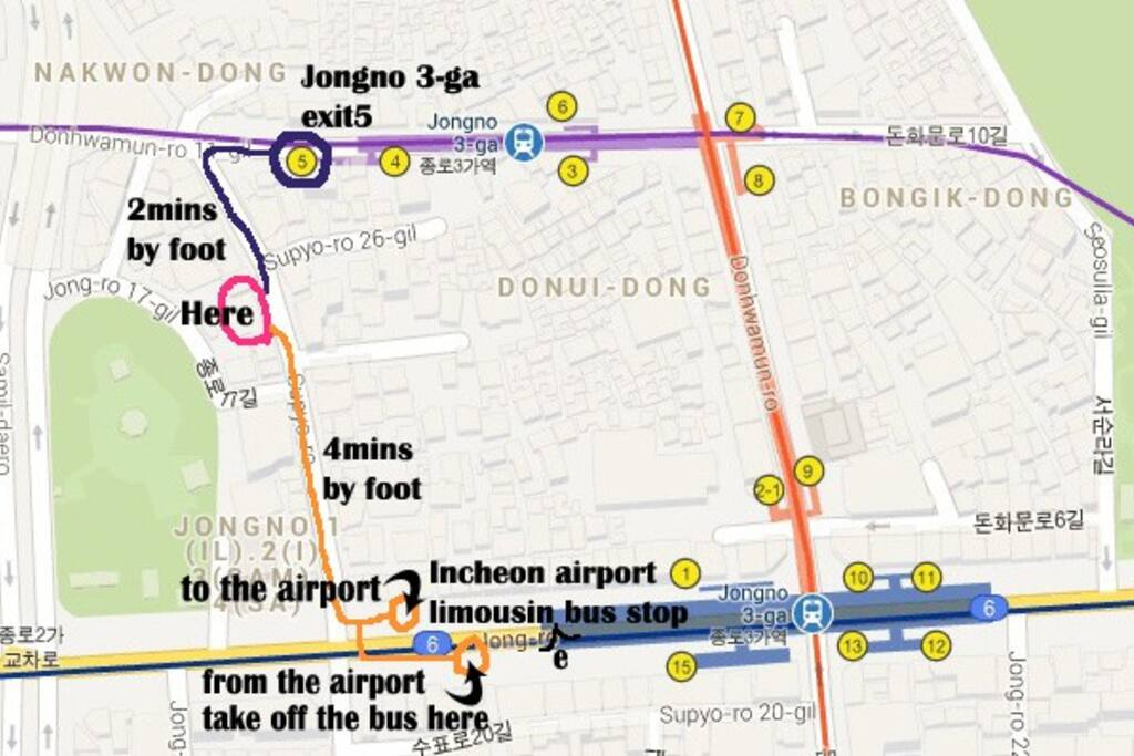 Location&The airport limousine bus