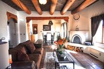 Historic pink adobe apartment
