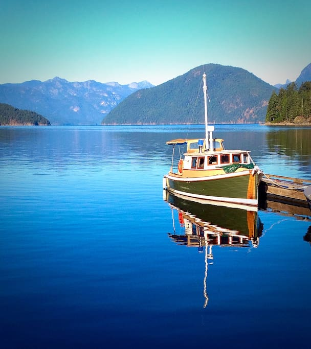 Our classic west coast troller awaits you at the Government Dock in Egmont