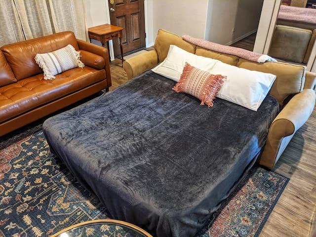 Queen sleeper sofa in the living room