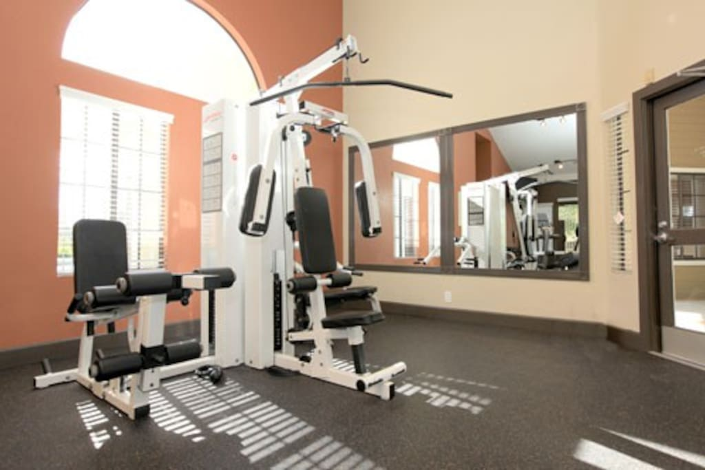 Newly renovated, fully equipped gym w/cardio and weight-lifting equipment.