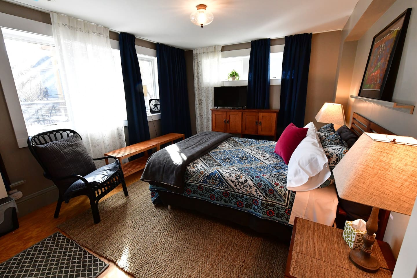 Large comfortable room with private entrance and private bathroom. Parking is free on the street or with guest pass. Wifi is high-speed.