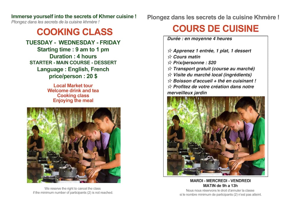 Our khmer cooking classes / Cours de cuisine khmère