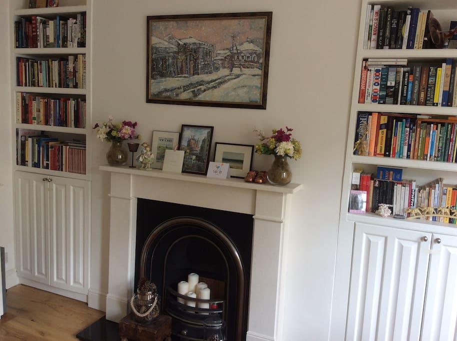 Book shelves in the living room