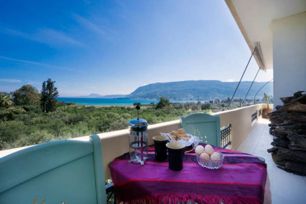 balcony.. dining with sea view and beach view