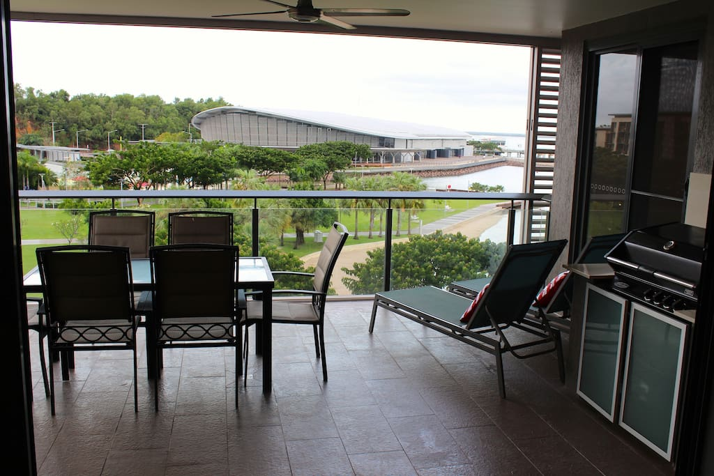 Balcony with outdoor setting and built-in gas BBQ