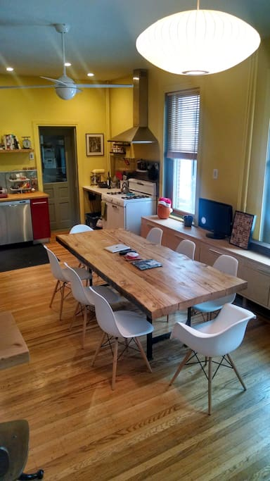Large, rustic, dining table for the whole family.  This is the heart of our home.