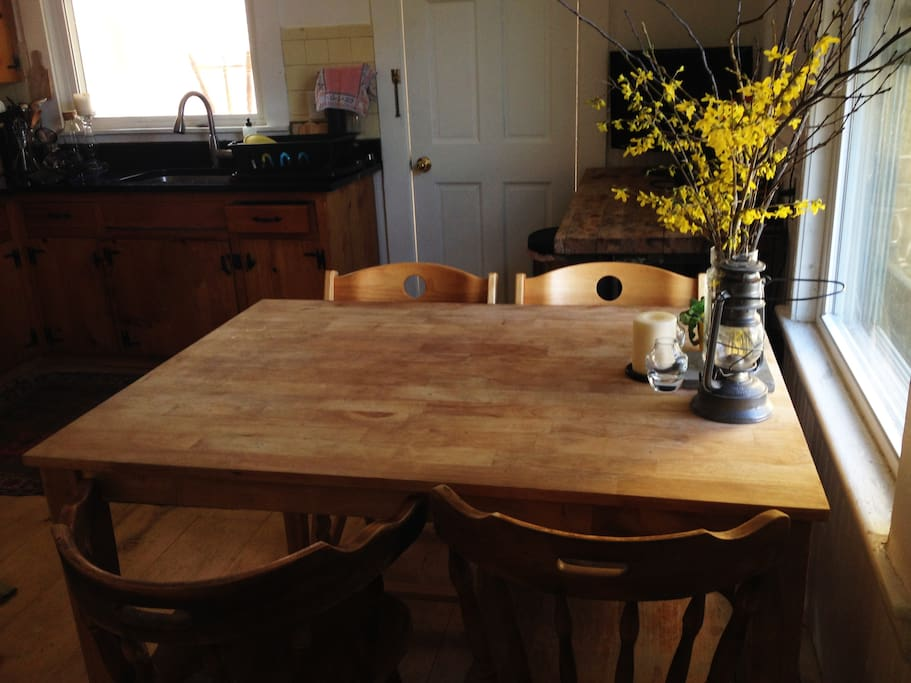 Eat-in kitchen with rustic table