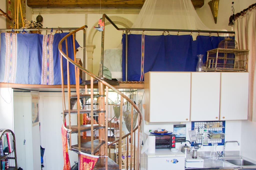 Mezzanine and kitchenette