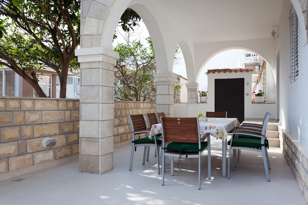 Terrace made of famous Dalmatian stone