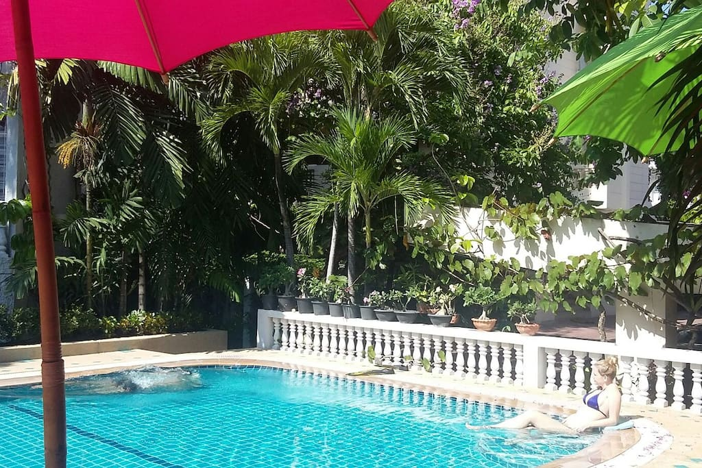 Open sky pool with beautiful natural sunlight.  Relax daily, preferably before or after a Thai massage, nearby.